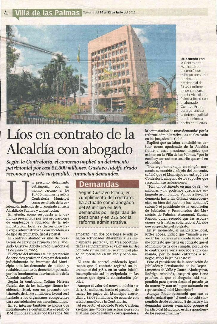 Líos en Contrato de la Alcaldía con Abogado según La Contraloría Municipal de Palmira.