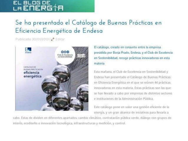 Se ha presentado el Catálogo de Buenas Prácticas en Eficiencia Energética de Endesa