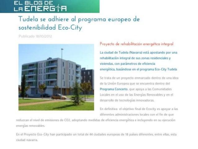 Tudela se adhiere al programa europeo de sostenibilidad Eco-City