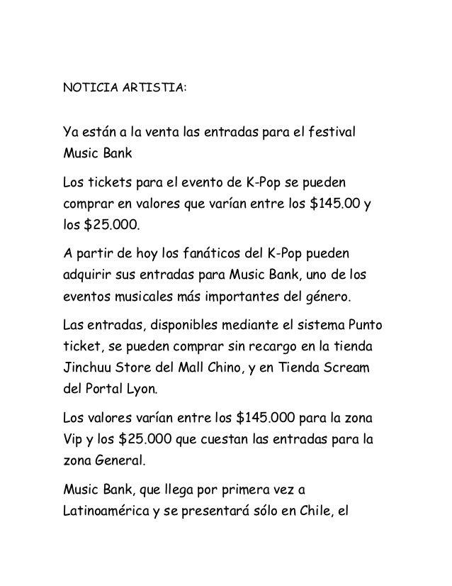 NOTICIA ARTISTIA:Ya están a la venta las entradas para el festivalMusic BankLos tickets para el evento de K-Pop se puedenc...