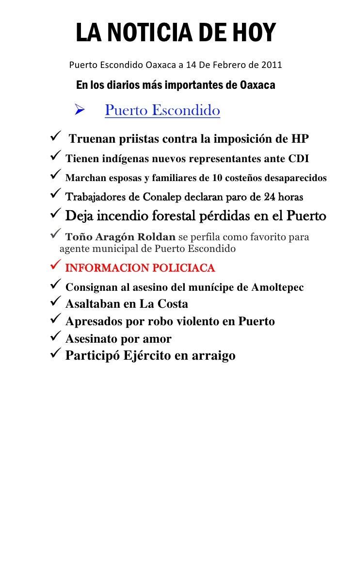 Noticia de Hoy Puerto Escondido 14 febrero 2011