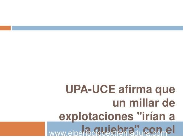 """UPA-UCE afirma que                 un millar de  explotaciones """"irían awww.elperiodicoextremadura.comel        la quiebra""""..."""