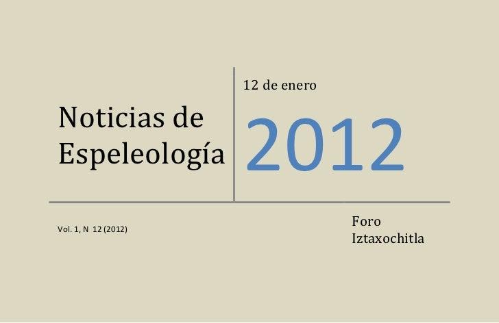 Noticias de espeleología 20120112