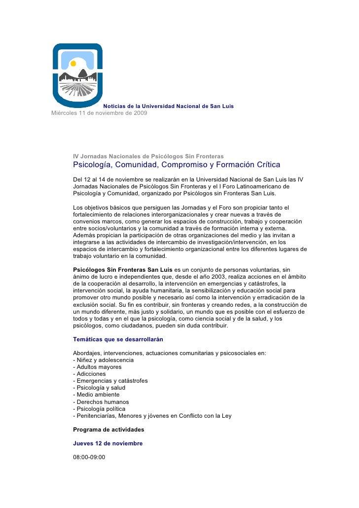 Noticias De La Universidad Nacional De San Luis