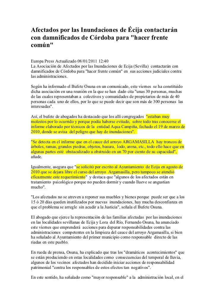 "Afectados por las Inundaciones de Écija contactaráncon damnificados de Córdoba para ""hacer frentecomún""Europa Press Actual..."