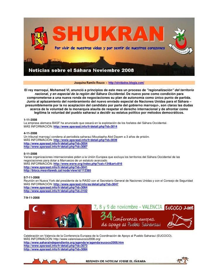 Joaquina Ramilo Rouco - http://olvidados.blogia.com/  El rey marroquí, Mohamed VI, anunció a principios de este mes un pro...