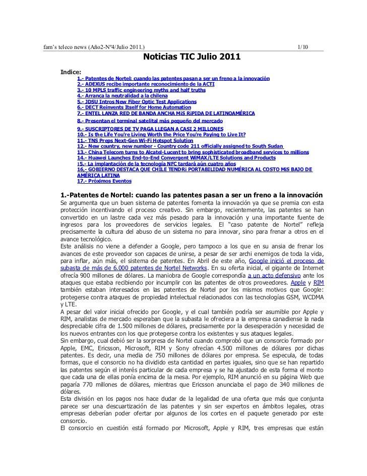 Noticias tel julio 2011