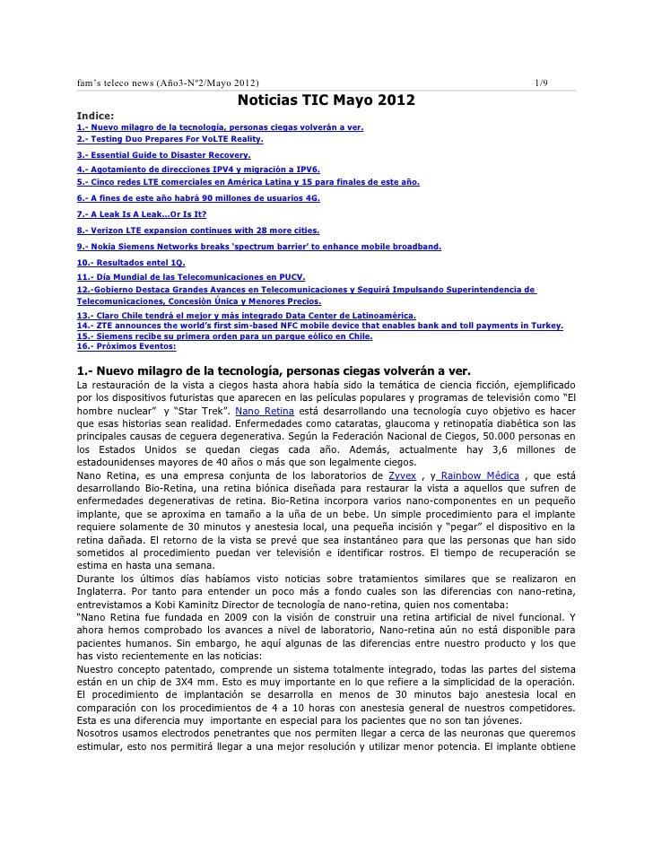 fam's teleco news (Año3-Nº2/Mayo 2012)                                                                  1/9               ...