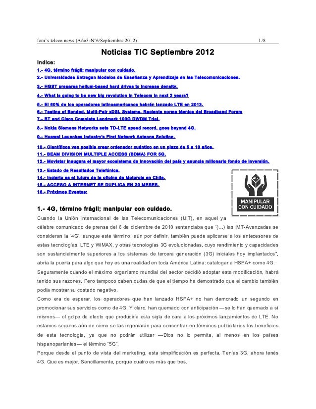 fam's teleco news (Año3-Nº6/Septiembre 2012)                                                         1/8                  ...
