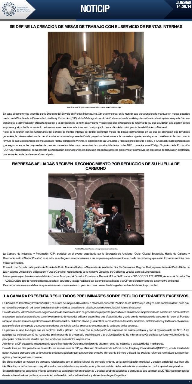 JUEVES 14.08.14 1 En base al compromiso asumido por la Directora del Servicio de Rentas Internas, Ing. XimenaAmoroso, en l...