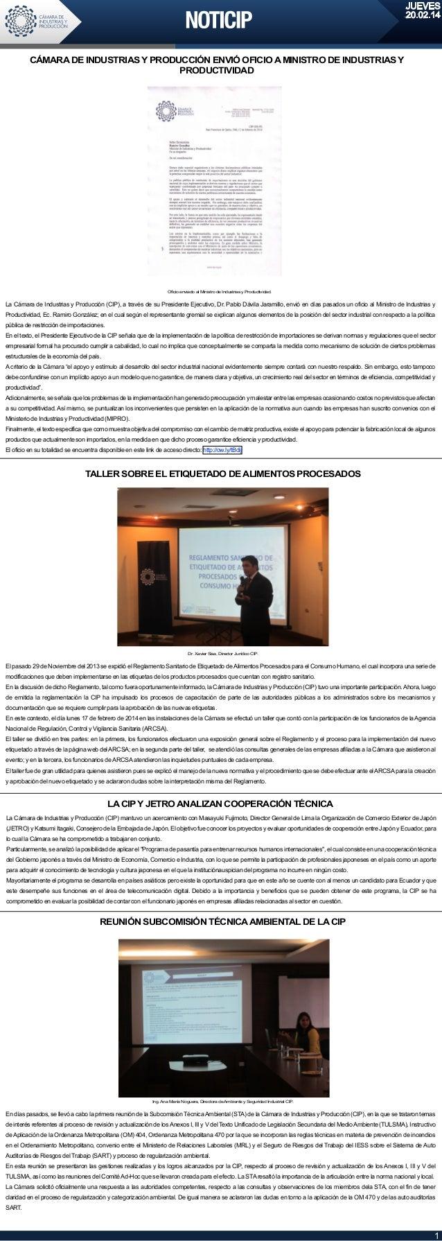 JUEVES 20.02.14  CÁMARA DE INDUSTRIAS Y PRODUCCIÓN ENVIÓ OFICIO A MINISTRO DE INDUSTRIAS Y PRODUCTIVIDAD  Oficio enviado a...
