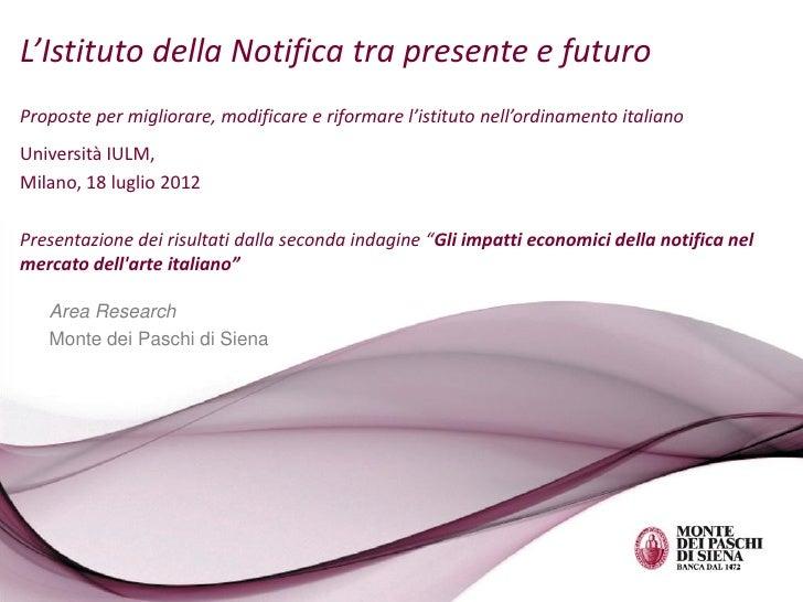 L'istituto della Notifica tra presente e futuro