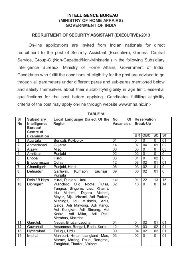 INTELLIGENCE BUREAU (MINISTRY OF HOME AFFAIRS) GOVERNMENT OF INDIA RECRUITMENT OF SECURITY ASSISTANT (EXECUTIVE)-2013 On-l...
