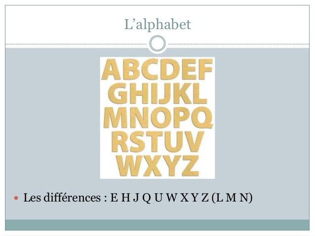 L'alphabet   Les différences : E H J Q U W X Y Z (L M N)