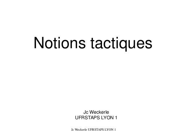 Jc WeckerleUFRSTAPS LYON 1  Notions tactiques  Jc Weckerle UFRSTAPS LYON 1