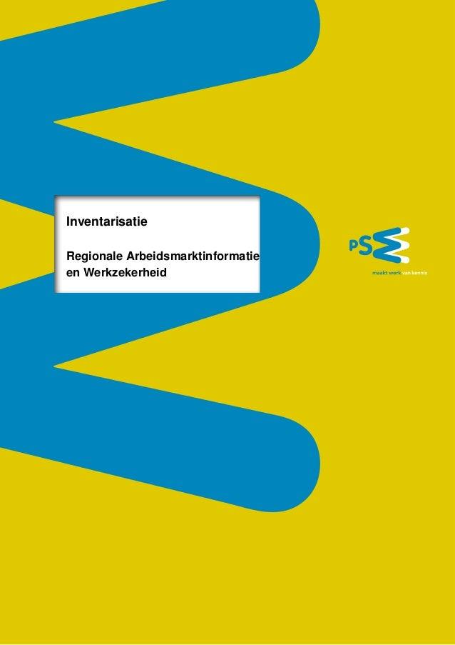 Inventarisatie Regionale Arbeidsmarktinformatie en Werkzekerheid