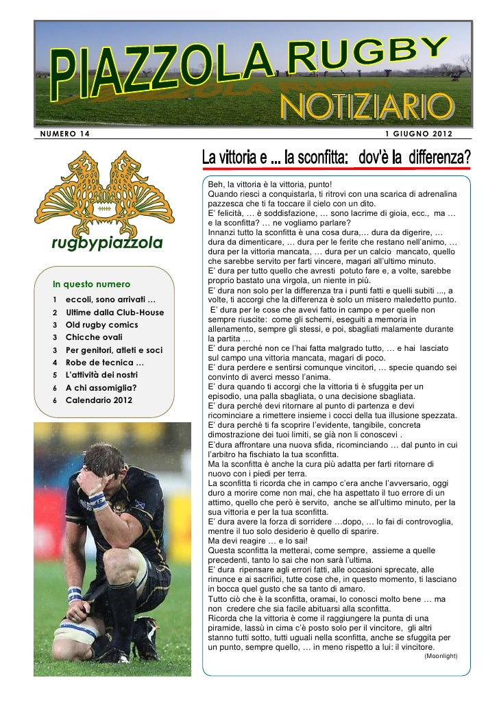 Rugby PIAZZOLA - Notiziario giugno 2012