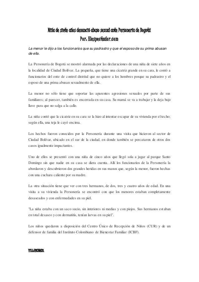 Niña de siete años denunció abuso sexual ante Personería de Bogotá Por: Elespectador.com La menor le dijo a los funcionari...