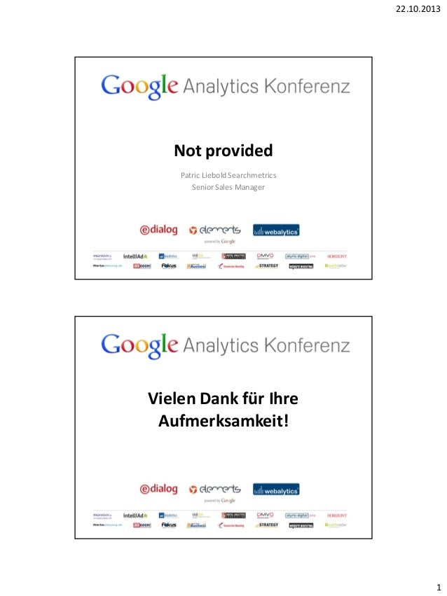 Google Analytics Konferenz 2013: Patric Liebold, Searchmetrics: (Not provided)