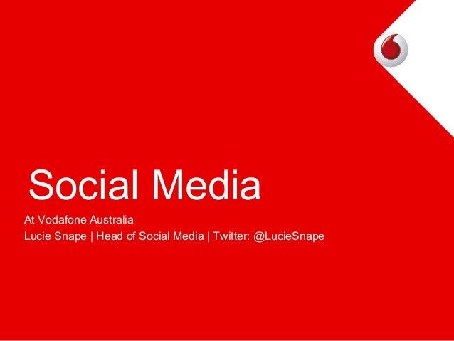 Social Media At Vodafone Australia Lucie Snape   Head of Social Media   Twitter: @LucieSnape