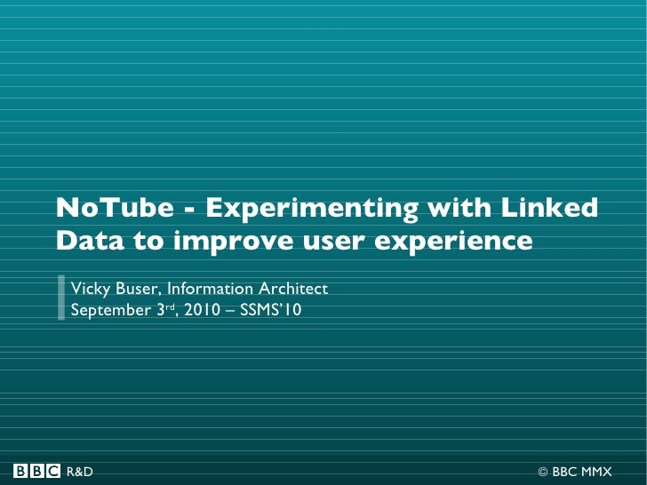 NoTube - Experimenting with Linked Data to improve user experience Vicky Buser, Information Architect September 3 rd , 201...