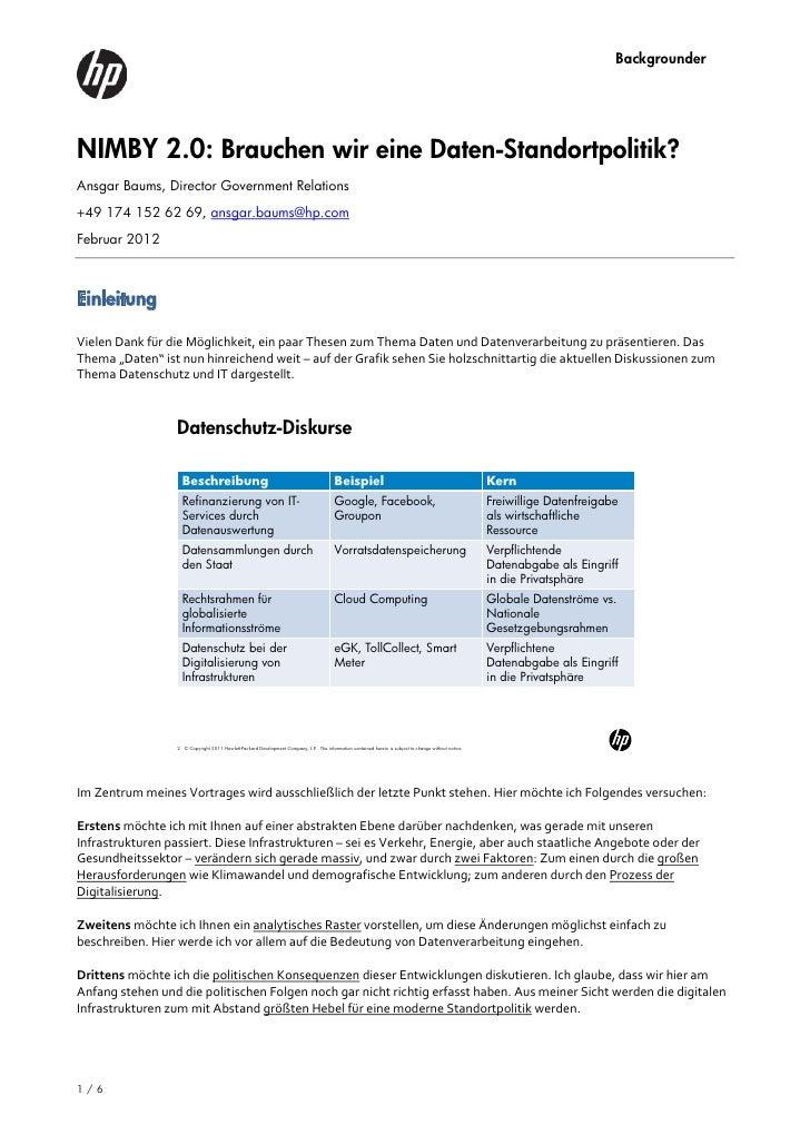 BackgrounderNIMBY 2.0: Brauchen wir eine Daten-Standortpolitik?Ansgar Baums, Director Government Relations+49 174 152 62 6...