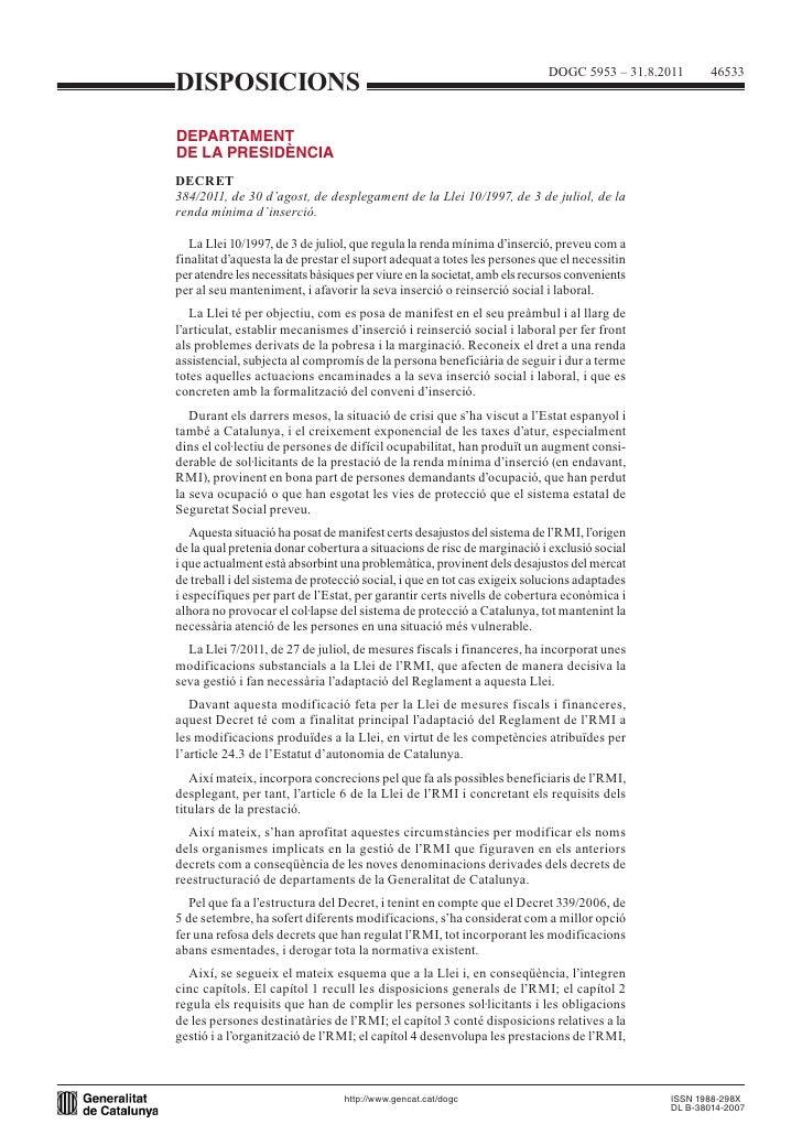 DISPOSICIONSDECRET384/2011, de 30 d'agost, de desplegament de la Llei 10/1997, de 3 de juliol, de larenda mínima d'inserci...
