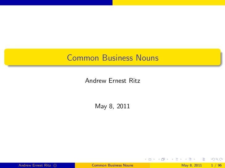 Common Business Nouns