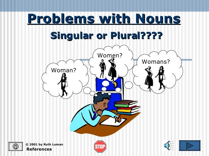 Problems with Nouns References © 2001 by Ruth Luman Singular or Plural???? Woman? Womans? Women?