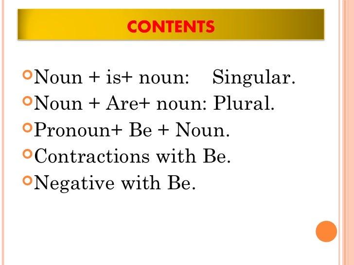 Noun + is+ noun: Singular.Noun + Are+ noun: Plural.Pronoun+ Be + Noun.Contractions with Be.Negative with Be.