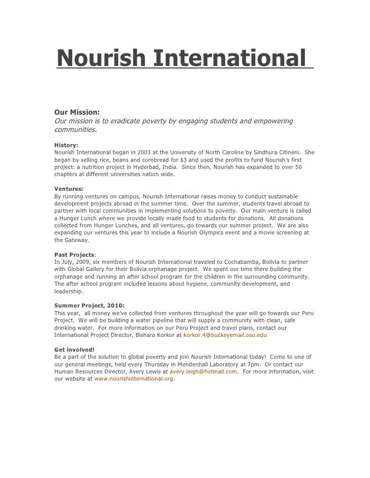 Nourish International  Our Mission: Our mission is to eradicate poverty by engaging students and empowering communities. H...