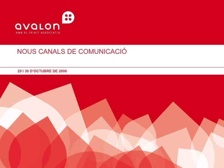 NOUS CANALS DE COMUNICACIÓ  29 I 30 D'OCTUBRE DE 2008