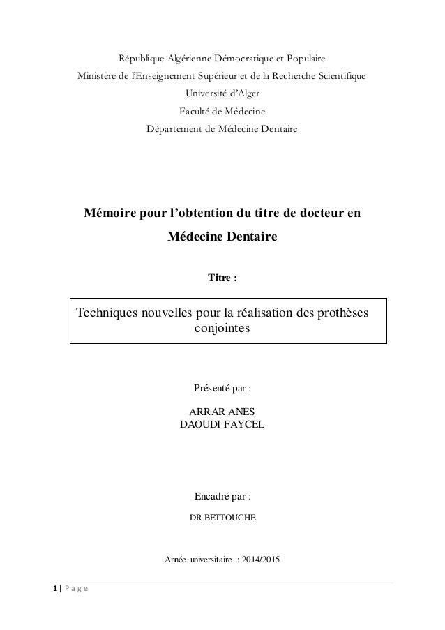 1 | P a g e République Algérienne Démocratique et Populaire Ministère de l'Enseignement Supérieur et de la Recherche Scien...