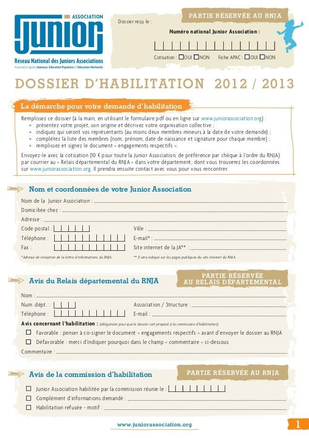 Nom et coordonnées de votre Junior AssociationNom de la Junior Association:    Domiciliée chez : Adresse : ...