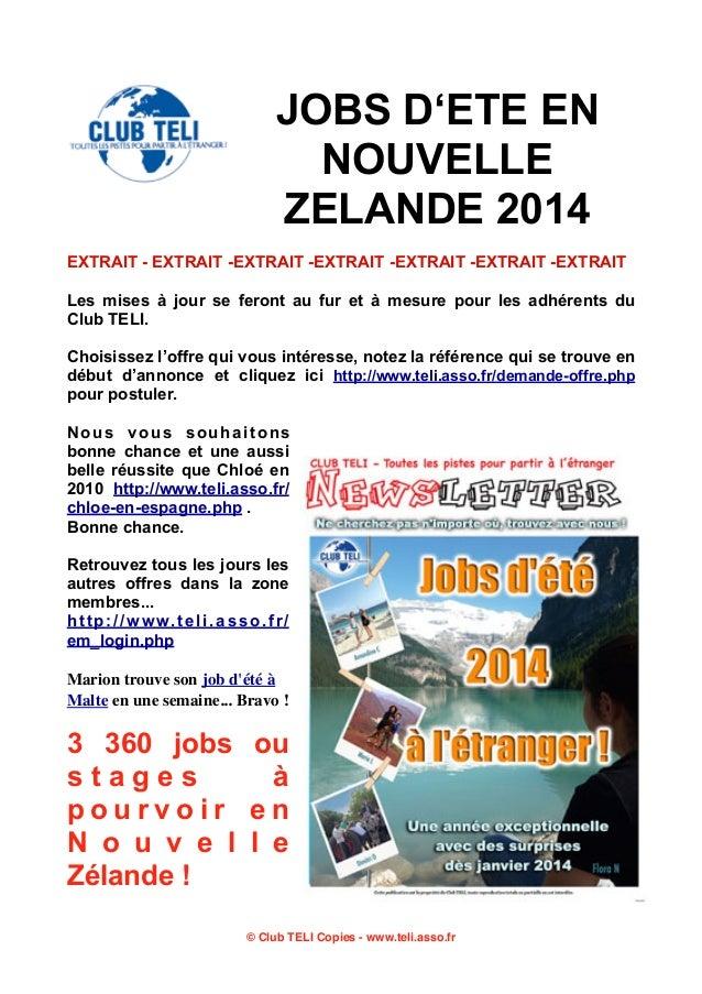 JOBS D'ETE EN NOUVELLE ZELANDE 2014 EXTRAIT - EXTRAIT -EXTRAIT -EXTRAIT -EXTRAIT -EXTRAIT -EXTRAIT Les mises à jour se fer...