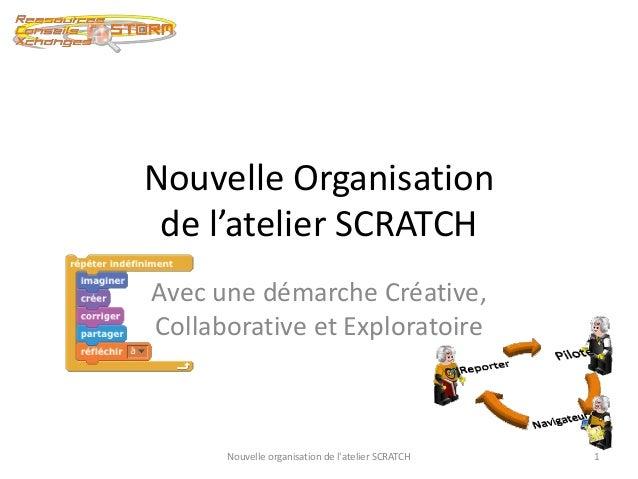 Nouvelle Organisation  de l'atelier SCRATCH  Avec une démarche Créative,  Collaborative et Exploratoire  Nouvelle organisa...