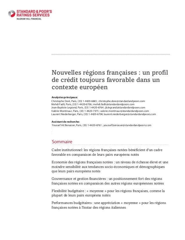 Nouvelles régions françaises : un profil de crédit toujours favorable dans un contexte européen Primary Credit Analyst: Ch...