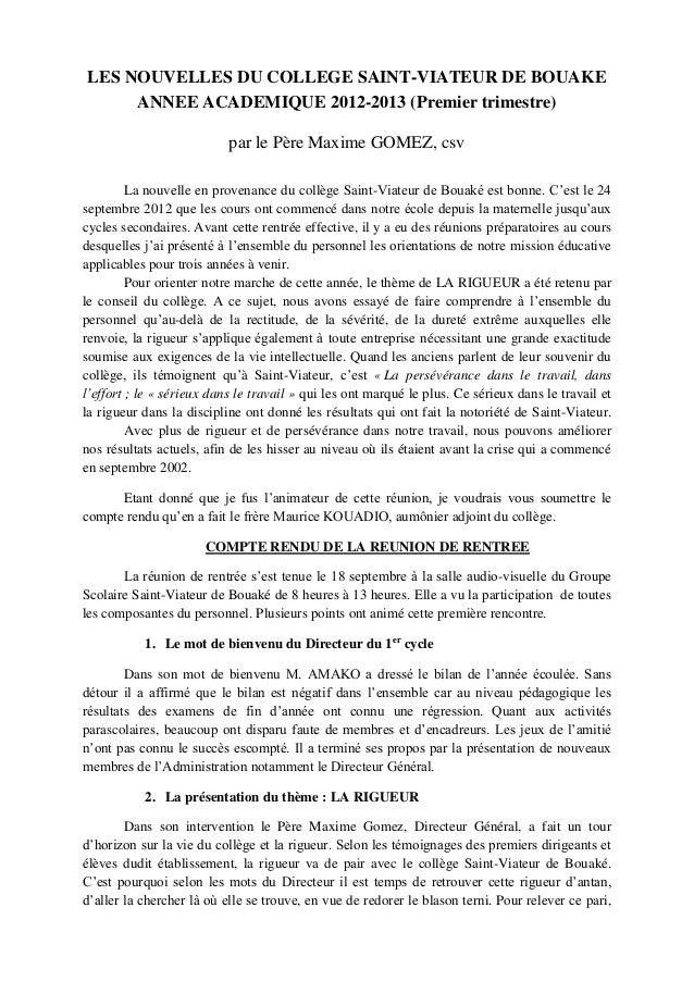 LES NOUVELLES DU COLLEGE SAINT-VIATEUR DE BOUAKE     ANNEE ACADEMIQUE 2012-2013 (Premier trimestre)                       ...