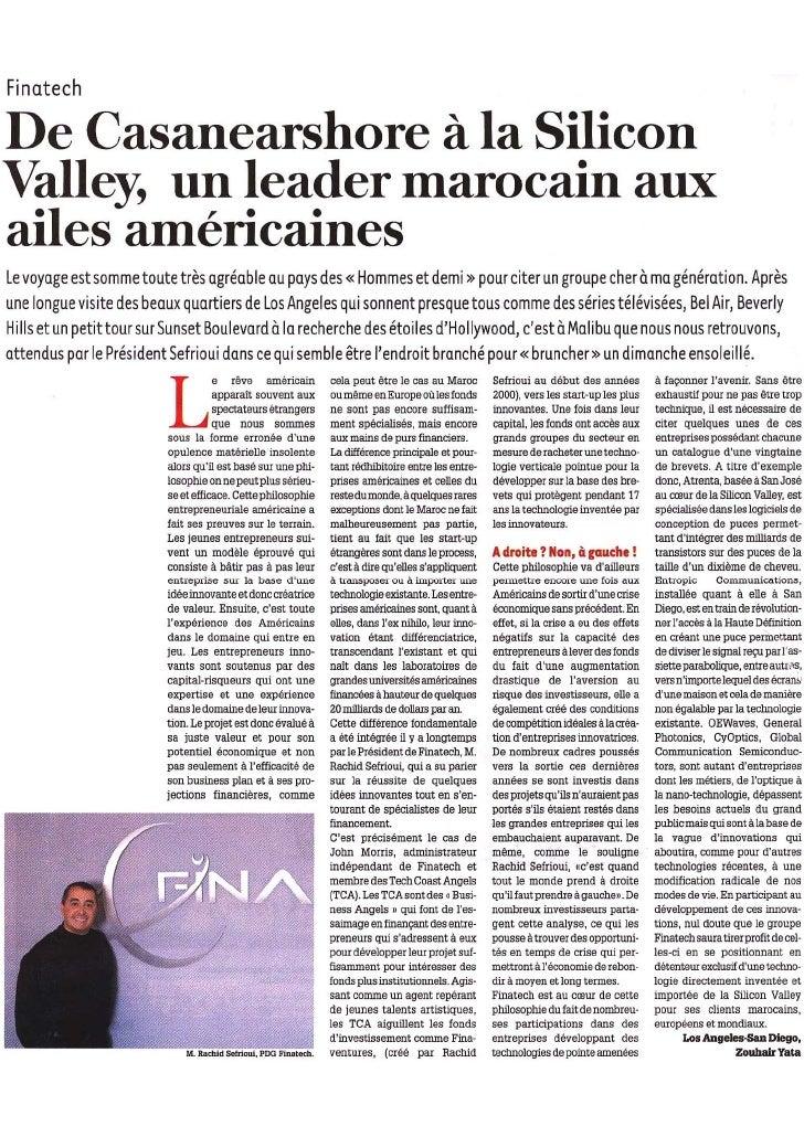 Nouvelle Tribune : Finatech - De Casanearshore à la Silicon Valley, un leader marocain aux ailes américaines - Article by ...
