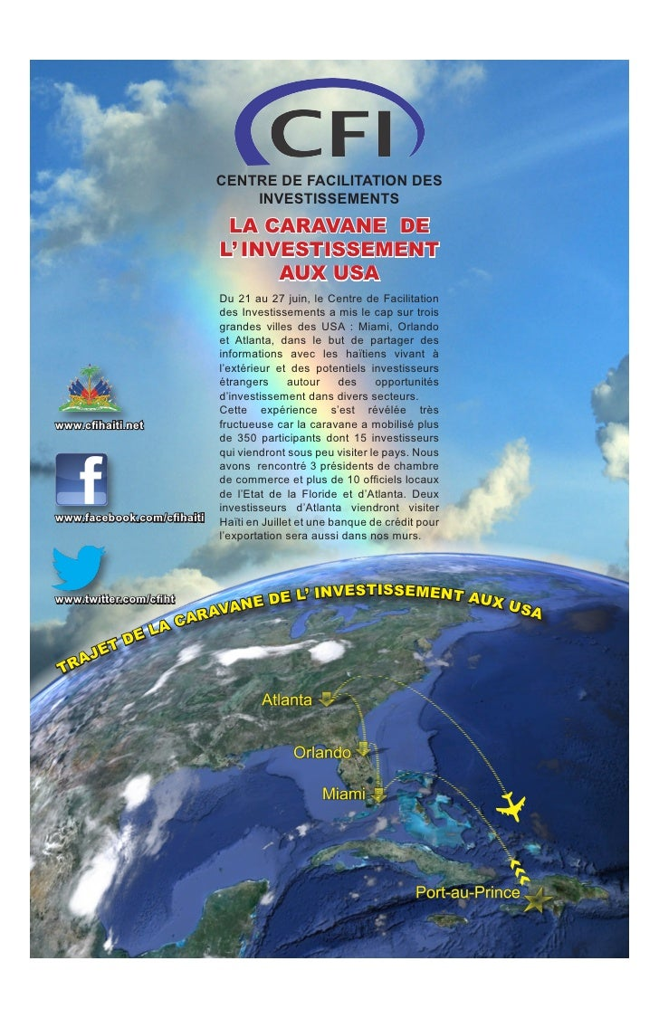 CENTRE DE FACILITATION DES                                INVESTISSEMENTS                             LA CARAVANE DE      ...
