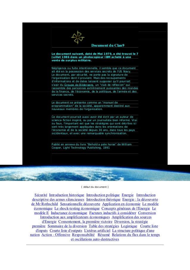 Document du Clan9 Le document suivant, daté de Mai 1979, a été trouvé le 7 Juillet 1986 dans un photocopieur IBM acheté à ...