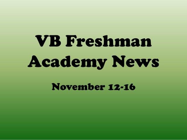 VB FreshmanAcademy News  November 12-16