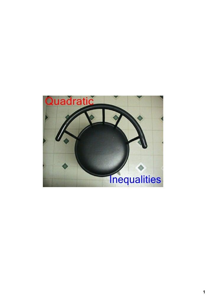 Nov. 16 Quadratic Inequalities