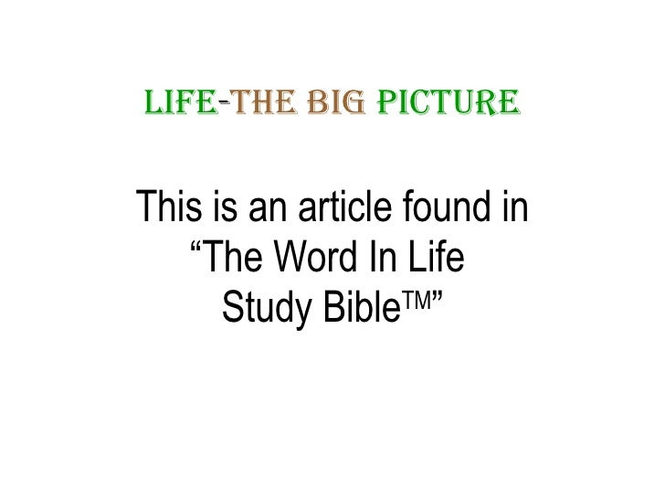 "LIFE - THE   BIG   PICTURE <ul><li>This is an article found in </li></ul><ul><li>"" The Word In Life  </li></ul><ul><li>Stu..."