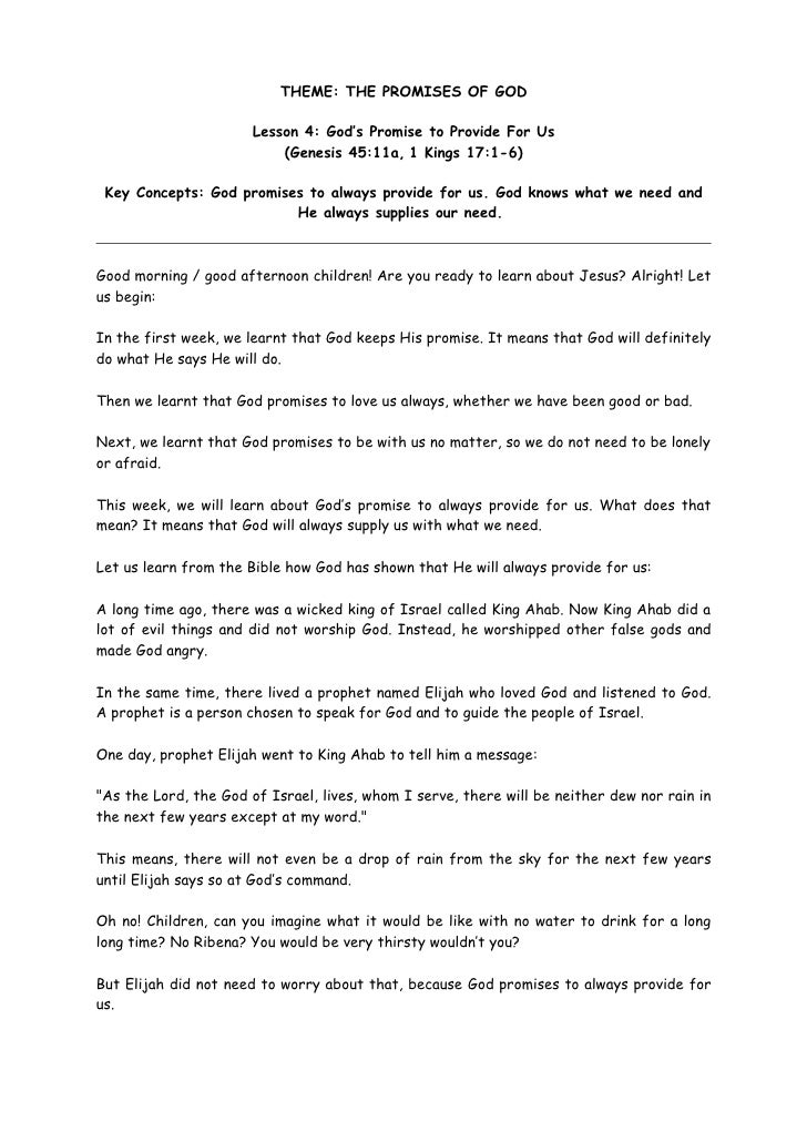 THEME: THE PROMISES OF GOD                         Lesson 4: God's Promise to Provide For Us                            (G...