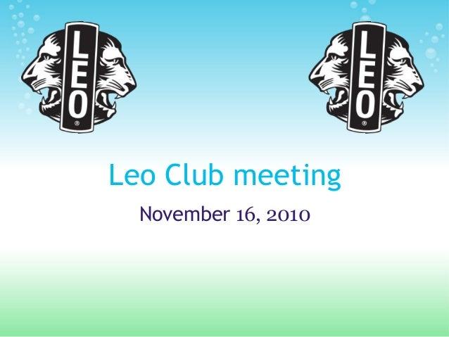 Leo Club meeting November 16, 2010