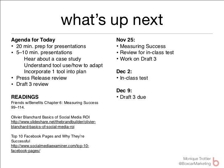 what's up nextAgenda for Today                                     Nov 25:• 20 min. prep for presentations               ...