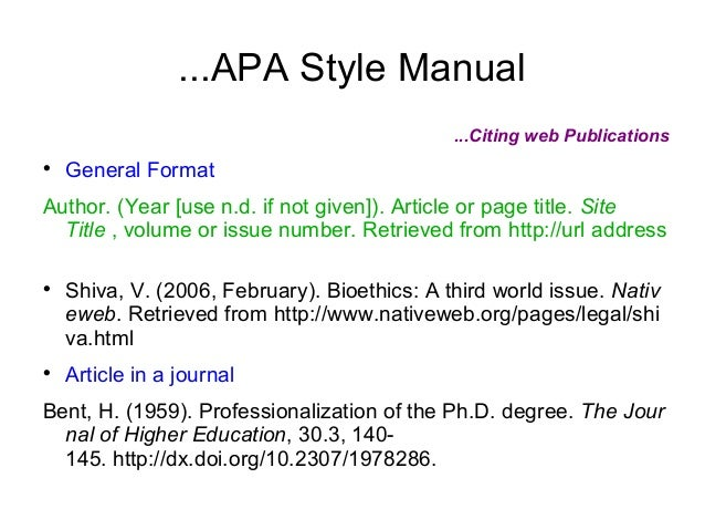 apa format a website Writing a bibliography: apa format if a document is contained within a large and complex website (such as that for a university or a government.
