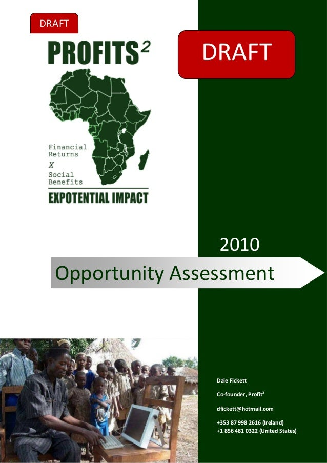 Nov 2010   opportunity assessment