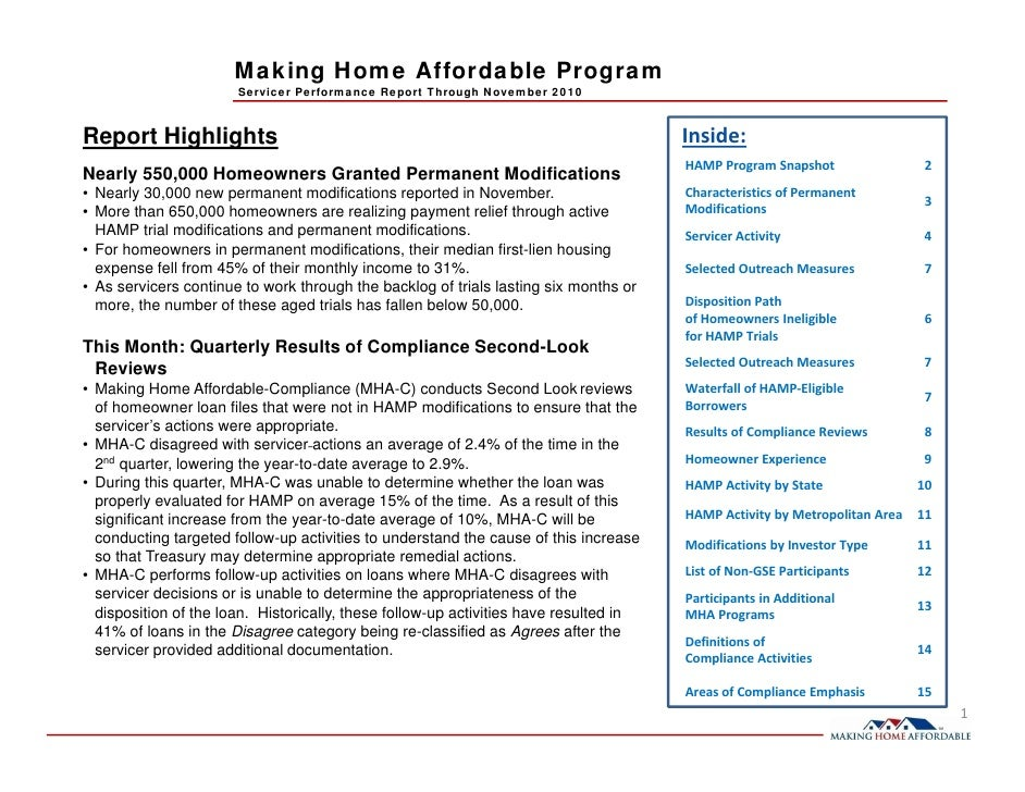 Making Home Affordable Program                       Servicer Performance Report Through November 2010Report Highlights   ...